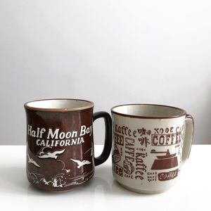 Set Two Vintage Brown Mugs California Coffee